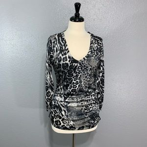 NY&Co | Sateen Ruched Leopard Top M